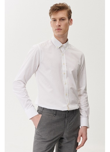Beymen Business Slim Fit Çizgili Gömlek 4B2019220021 Beyaz